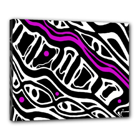 Purple, Black And White Abstract Art Canvas 20  X 16  by Valentinaart