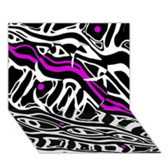 Purple, Black And White Abstract Art Clover 3d Greeting Card (7x5) by Valentinaart