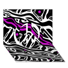 Purple, Black And White Abstract Art Peace Sign 3d Greeting Card (7x5) by Valentinaart