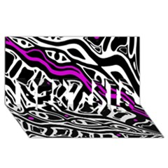 Purple, Black And White Abstract Art Best Sis 3d Greeting Card (8x4) by Valentinaart