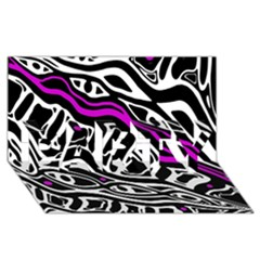 Purple, Black And White Abstract Art Party 3d Greeting Card (8x4) by Valentinaart