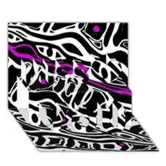 Purple, Black And White Abstract Art Miss You 3d Greeting Card (7x5) by Valentinaart