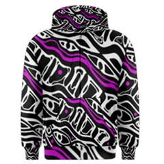 Purple, Black And White Abstract Art Men s Zipper Hoodie by Valentinaart