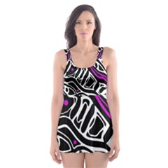 Purple, Black And White Abstract Art Skater Dress Swimsuit by Valentinaart