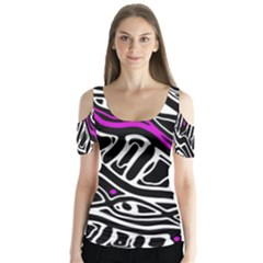 Purple, Black And White Abstract Art Butterfly Sleeve Cutout Tee  by Valentinaart