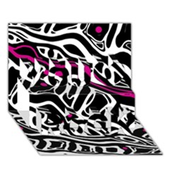 Magenta, Black And White Abstract Art You Rock 3d Greeting Card (7x5) by Valentinaart