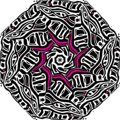 Magenta, Black And White Abstract Art Hook Handle Umbrellas (small)