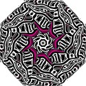 Magenta, black and white abstract art Hook Handle Umbrellas (Small) View1