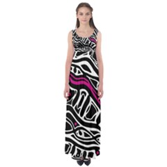 Magenta, Black And White Abstract Art Empire Waist Maxi Dress by Valentinaart