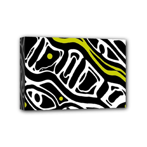 Yellow, Black And White Abstract Art Mini Canvas 6  X 4  by Valentinaart