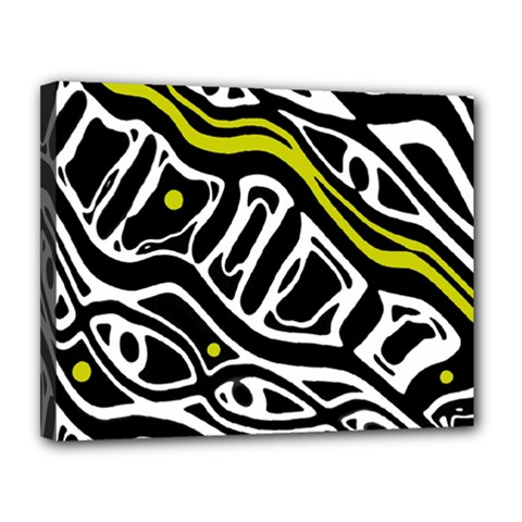 Yellow, Black And White Abstract Art Canvas 14  X 11  by Valentinaart