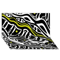 Yellow, Black And White Abstract Art Twin Heart Bottom 3d Greeting Card (8x4) by Valentinaart