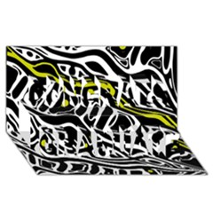 Yellow, Black And White Abstract Art Congrats Graduate 3d Greeting Card (8x4) by Valentinaart