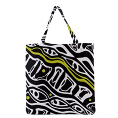 Yellow, Black And White Abstract Art Grocery Tote Bag by Valentinaart