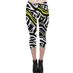 Yellow, Black And White Abstract Art Capri Leggings