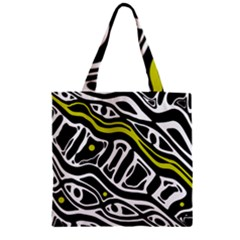 Yellow, Black And White Abstract Art Zipper Grocery Tote Bag by Valentinaart