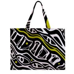 Yellow, Black And White Abstract Art Zipper Mini Tote Bag by Valentinaart