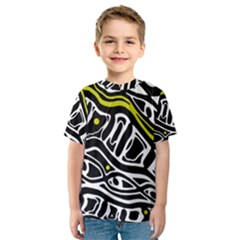 Yellow, Black And White Abstract Art Kid s Sport Mesh Tee by Valentinaart