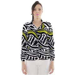 Yellow, Black And White Abstract Art Wind Breaker (women) by Valentinaart
