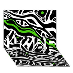 Green, Black And White Abstract Art Hope 3d Greeting Card (7x5) by Valentinaart