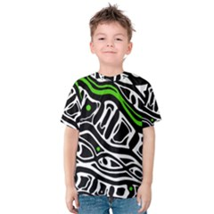 Green, Black And White Abstract Art Kid s Cotton Tee by Valentinaart