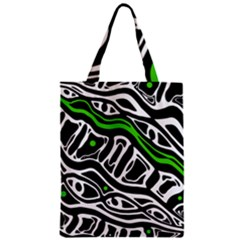 Green, Black And White Abstract Art Zipper Classic Tote Bag by Valentinaart