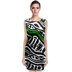 Green, Black And White Abstract Art Classic Sleeveless Midi Dress by Valentinaart