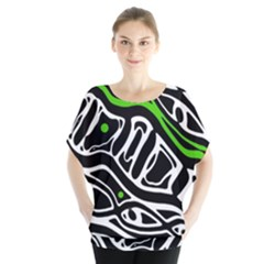 Green, Black And White Abstract Art Blouse by Valentinaart