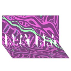 Purple And Green Abstract Art Best Bro 3d Greeting Card (8x4)