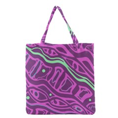 Purple And Green Abstract Art Grocery Tote Bag by Valentinaart