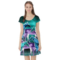 Horses Under A Galaxy Short Sleeve Skater Dress by DanaeStudio