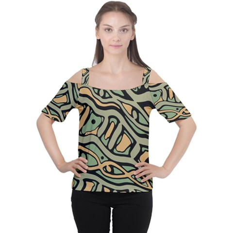 Green Abstract Art Women s Cutout Shoulder Tee by Valentinaart