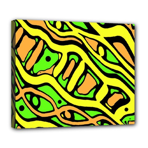 Yellow, Green And Oragne Abstract Art Deluxe Canvas 24  X 20   by Valentinaart
