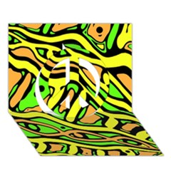Yellow, Green And Oragne Abstract Art Peace Sign 3d Greeting Card (7x5) by Valentinaart