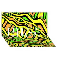Yellow, Green And Oragne Abstract Art Hugs 3d Greeting Card (8x4) by Valentinaart