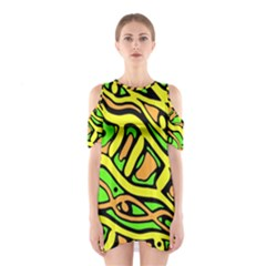 Yellow, Green And Oragne Abstract Art Cutout Shoulder Dress by Valentinaart