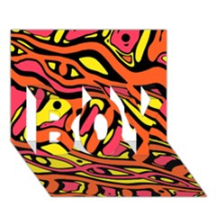 Orange Hot Abstract Art Boy 3d Greeting Card (7x5)