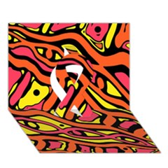 Orange Hot Abstract Art Ribbon 3d Greeting Card (7x5)