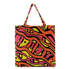 Orange Hot Abstract Art Grocery Tote Bag by Valentinaart