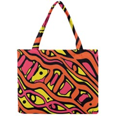 Orange Hot Abstract Art Mini Tote Bag by Valentinaart