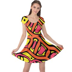 Orange Hot Abstract Art Cap Sleeve Dresses by Valentinaart