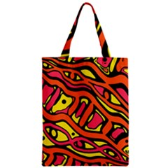 Orange Hot Abstract Art Zipper Classic Tote Bag by Valentinaart