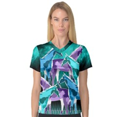 Horses Under A Galaxy Women s V Neck Sport Mesh Tee by DanaeStudio