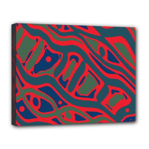 Red And Green Abstract Art Canvas 14  X 11  by Valentinaart