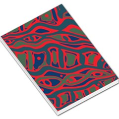 Red And Green Abstract Art Large Memo Pads