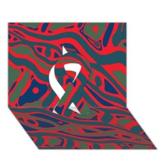 Red And Green Abstract Art Ribbon 3d Greeting Card (7x5) by Valentinaart