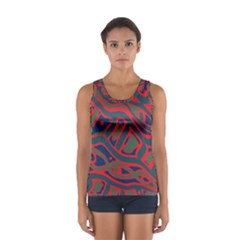Red And Green Abstract Art Women s Sport Tank Top  by Valentinaart