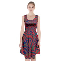 Red And Green Abstract Art Racerback Midi Dress