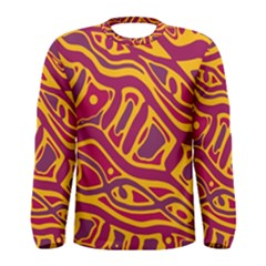 Orange Abstract Art Men s Long Sleeve Tee by Valentinaart