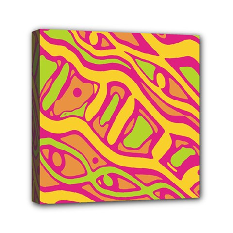 Orange Hot Abstract Art Mini Canvas 6  X 6  by Valentinaart